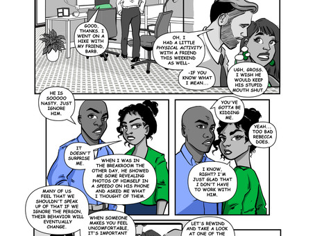 Define the Line announces completion of first page of workplace harassment training comic book