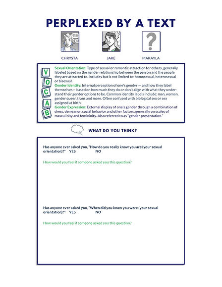 Comic book activity page with vocabularly. What do you think questions to expand knowledge of information provided in sexual harassment training scenario.