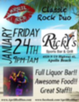 Ricky's at Apollo Beach, 1.24.20., Ricky's Sports Bar, Apollo Beach, FL, Live Music, Nightlife, Classic Rock, April Red