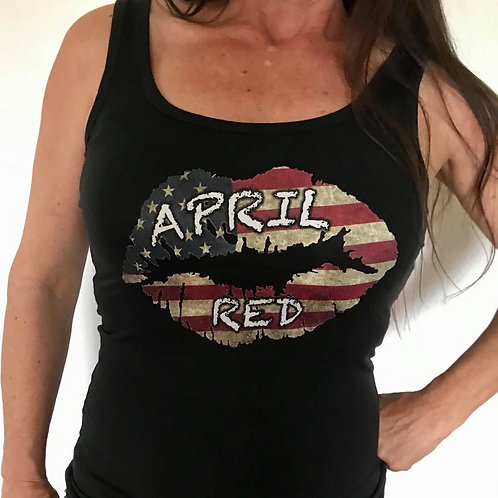 Ladies Fitted Tank - US Flag Lips S,M,L,XL