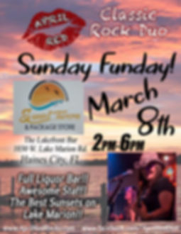 Sunset Tavern, Lakefront Bar, 3.8.20., Things to do, Sunday Funday, Live Music, Classic Rock, April Red