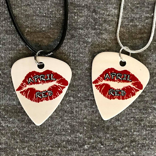 White Guitar Pick Necklace on Sterling Silver or Black Rope