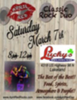 Lucky's Sports Oyster Tiki Bar, Lakeland, FL, Live Music, Things to do, Nightlife, Classic Rock, April Red, 3.7.2020