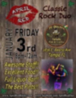 PJ Dolans Irish Pub & Grill, Tampa, FL, 1.3.20., Live Music, April Red, Classic Rock
