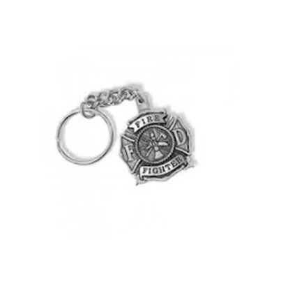 Firefighter Pewter Keychain