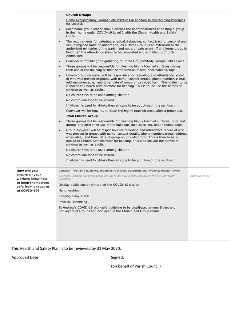 COVID-19 Level 2 Work Plan St Andrews v2