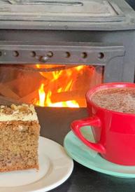 Hot chocolate and cake