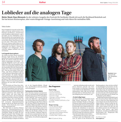 Bericht im Bieler Tagblatt