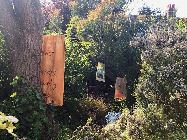 Banners in Paula's garden for Brighton & Hove Artist's Open Houses May 2019
