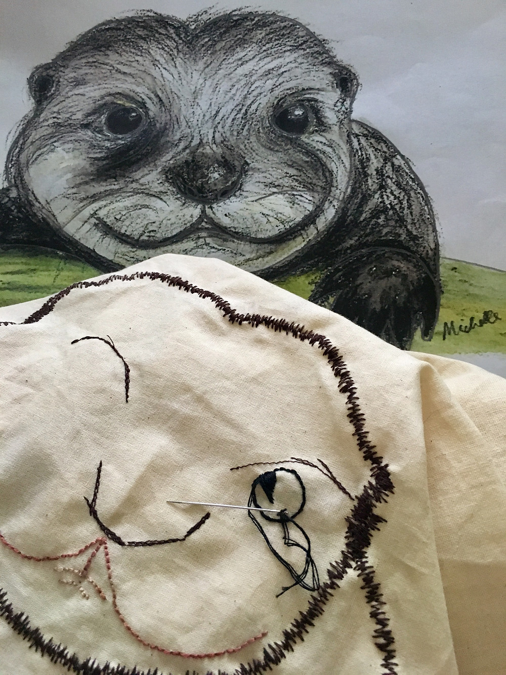 Otterly Lovely gets a stitched outline