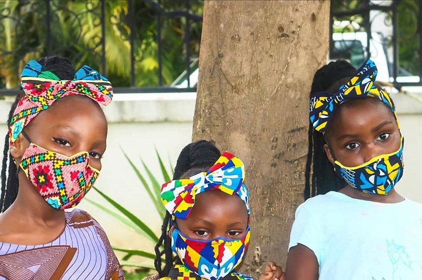 Girls Matching Headband & Face Mask