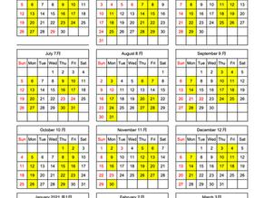 2020年度クラスカレンダー