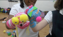 Sock puppets by 6th graders.