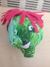 Hand puppet head by a preschooler.
