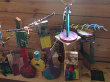 Collaborative wood art installation with 2nd-4th graders.