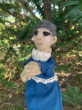 A member of the FancyFace family for original work, Bequeathed.   Hand puppet.