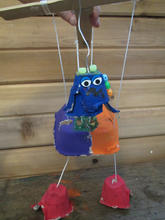 Marionette out of recyclable material, created by a 4th grader.