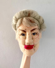 Agnes, the gossiping noisy neighbour from Bequeathed. (wip)   Felted moving mouth head.