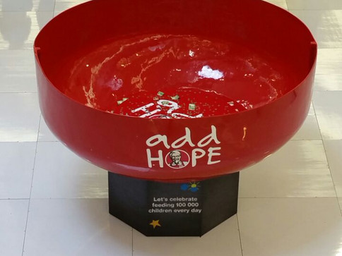 KFC Bowl Fabricted by Tungsten for KFC Add Hope Campaign