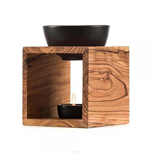 Melide Duftlampe Schweizer Olivenholz Keramikschale schwarz