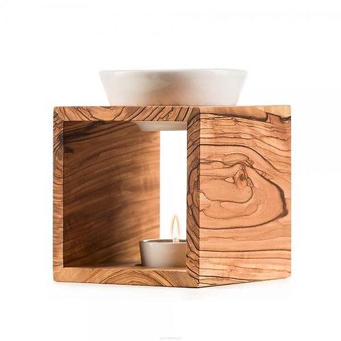 Melide Duftlampe Schweizer Olivenholz Keramikschale weiss