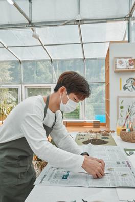 식물표본 작업
