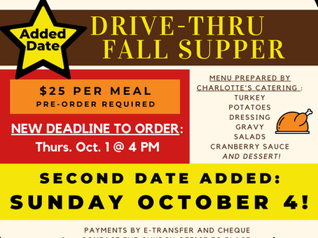 Added Drive-Thru Dinner Date - Sunday Oct. 4