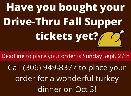 Only 1 Week Left to Order Your Drive-Thru Fall Supper!