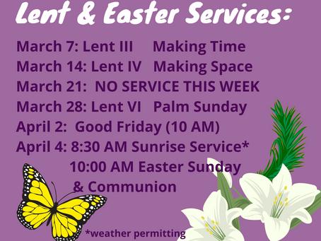 Lent/Easter Worship Schedule