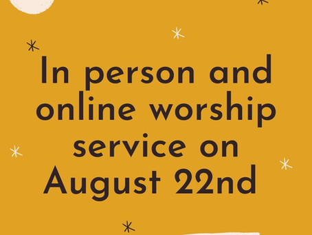 In person worship this Sunday!