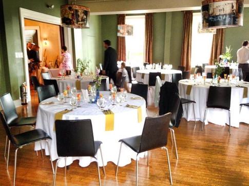 Table arrangements set up in our venue facility