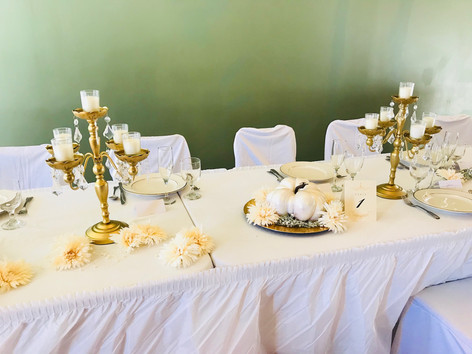 Beautiful tables settings for a wedding reception in the dining room of our venue facility.