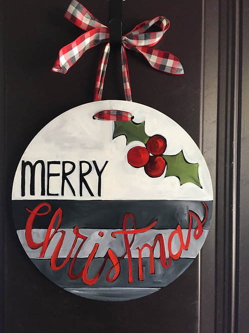 Gray, Black, and Red Striped Ornament