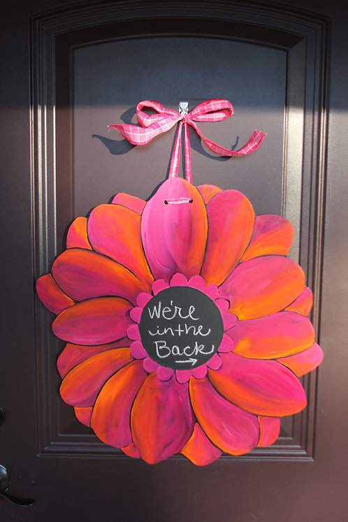 Pink Gerber Daisy with Chalkboard
