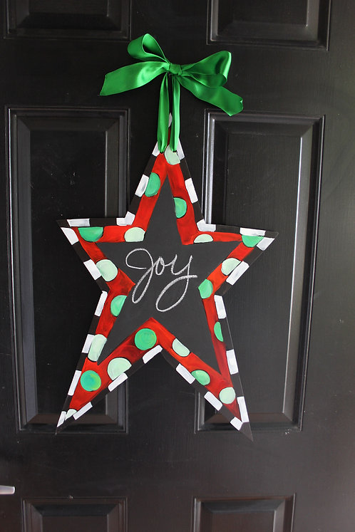 Red Christmas Star with Chalkboard