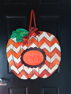 White and Orange Chevron Pumpkin