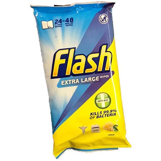 CLEANING WIPES FLASH XL ANTI-BAC, 8PACKS*24/48WIPES
