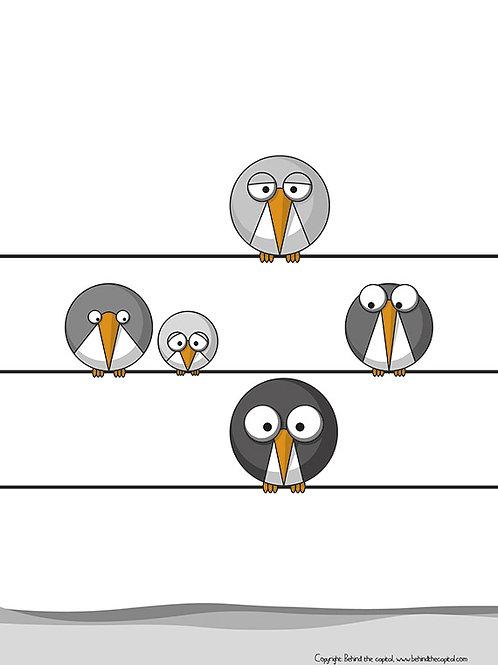 Five Grey Birds - Left