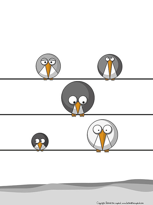Five Grey Birds - Right