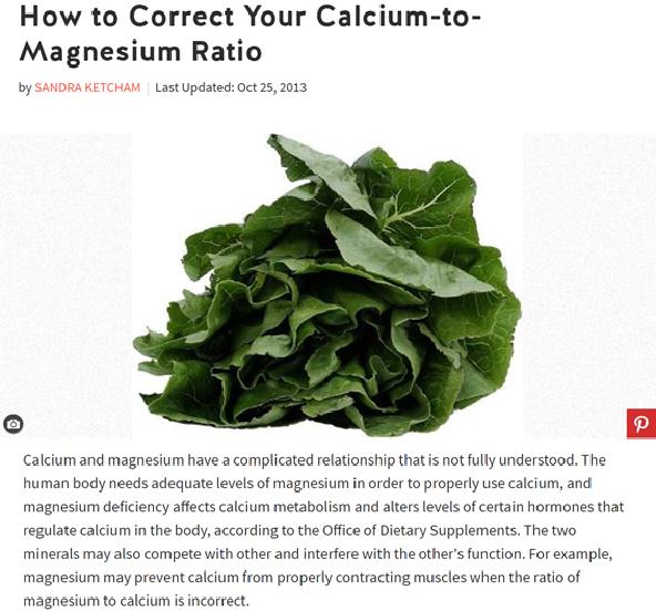 Correct calcium to magnesium ratio