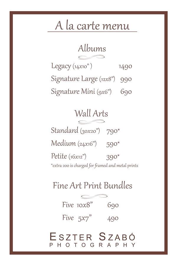 Price List Eszter Szabo Photography