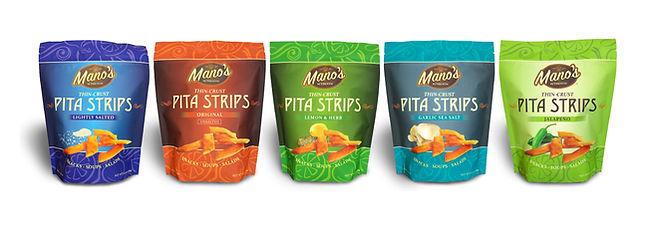 Mano's Authentic Pita Strips Lineup