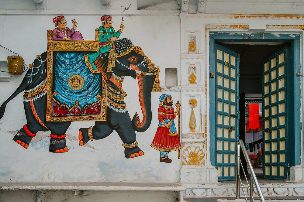 udaipur old city painted walls rajasthani art