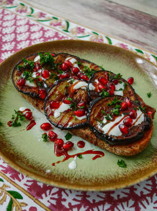 10 Days Of Toast - Day 8 - Roasted Eggplant & Pomegranate