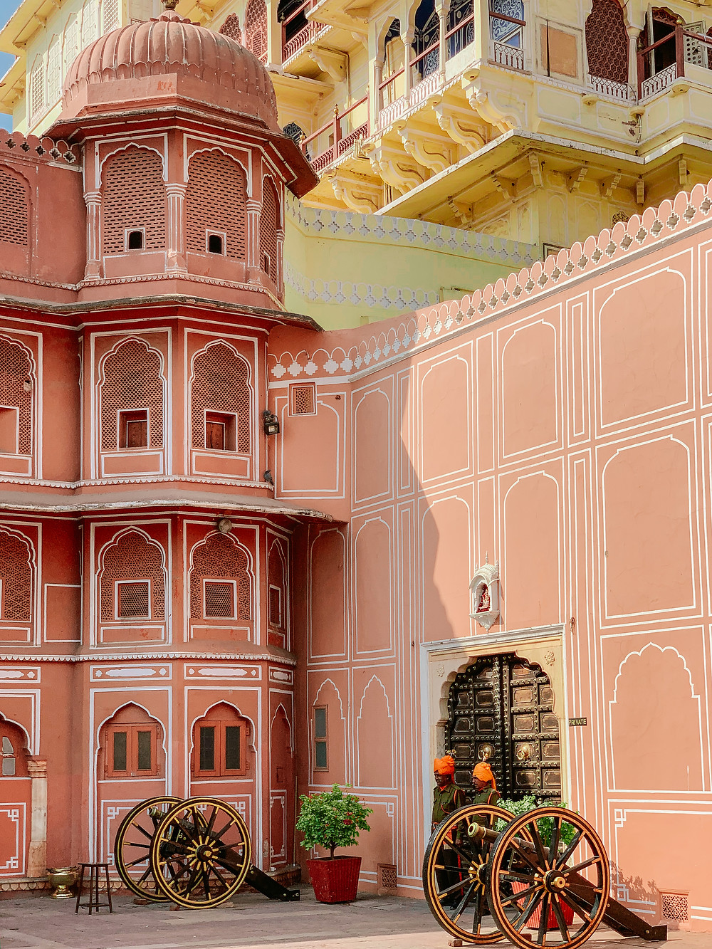 Jaipur's City Palace is one of the prime attractions in Jaipur. It is still home to the royal family of Jaipur, and magnificently represents the impressive blend of Rajput and Mughal architecture. The palace is a vast complex with many courtyards, private rooms, gates and gardens. There are two ticket options - one for the exterior grounds and the other which grants you access to private rooms. Although much pricier, I recommend the latter with a private tour guide who will be very informative on the history of all aspects of the palace. You will feel completely immersed into a bygone era filled with richness and royalty, seeing the intricate work up close in the rooms, and getting a glimpse into how the royals lived.   ​