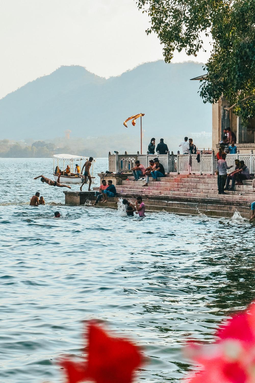 ambrai ghat udaipur boys swimming
