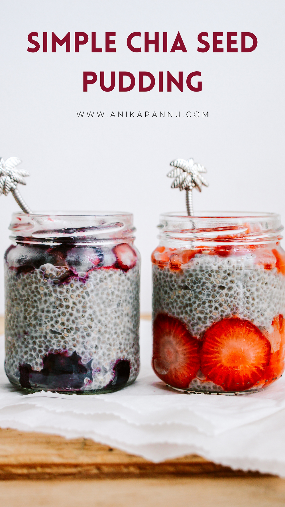 chia seed pudding with strawberries and blueberries recipe card