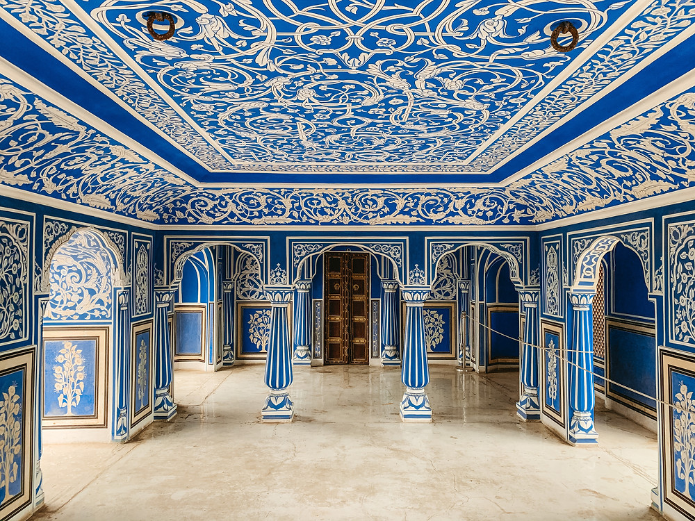 City Palace Jaipur. Everything to know about Jaipur. Must see Jaipur. Blue Room Jaipur City Palace.