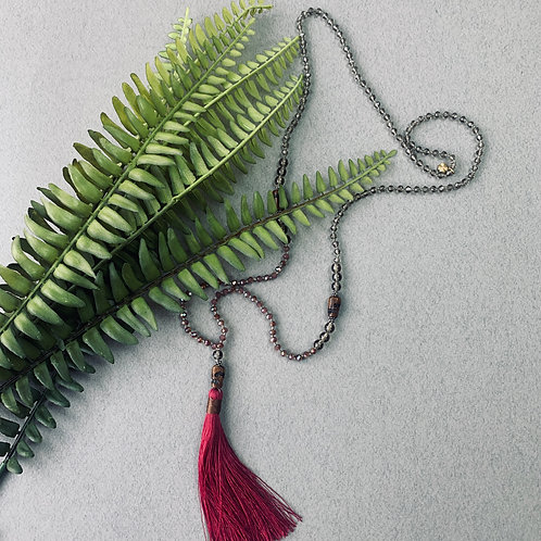 Artisan Tassel Necklace (burgandy)