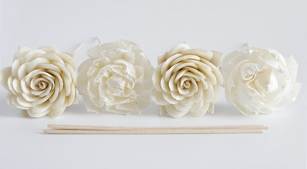 "Set of 4 DIY  3""  Dahlia and  Rose Sola Flower for Home fragrance Diffu"